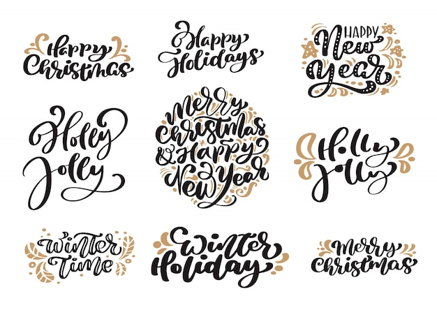 Set of merry christmas vintage lettering