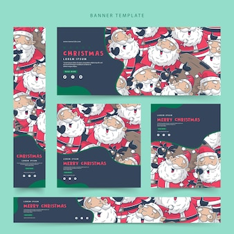 set of merry christmas web banner template