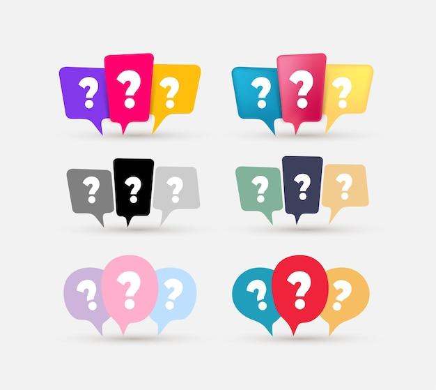 Set of message box with question mark icon. chat, chat box, faq, help, message, speech bubble icon. colored and black vector elements, isolated on white background.