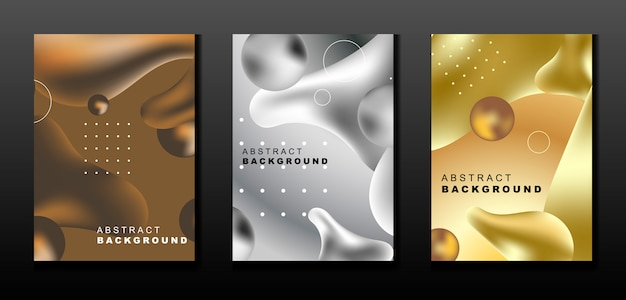Set of metal abstract liquid background