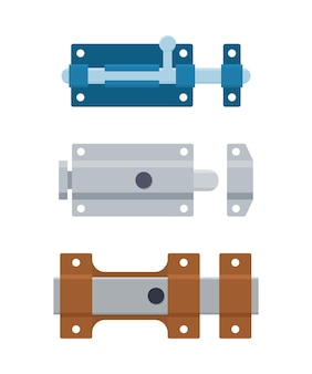 Set of metal door bolts and latches. steel safety hardware.