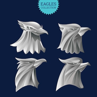 Set of metal eagle head