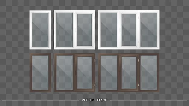 Set of metal-plastic balconies with transparent glasses. modern balconies in a realistic style. vector.
