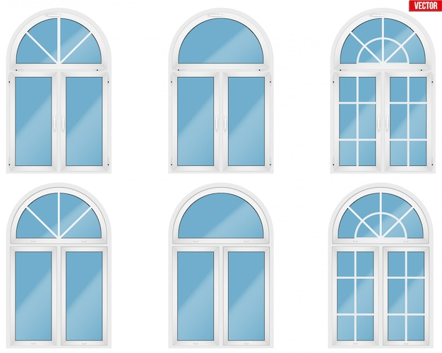 Set of metal plastic pvc windows with arch style.
