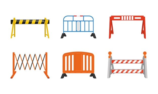 Set of metal and plastic road barriers different traffic obstacles work zone safety concept