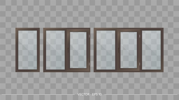 Set of metal-plastic windows with transparent glasses. modern windows in a realistic style. vector.
