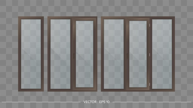 Set of metal-plastic windows with transparent glasses. modern windows in a realistic style.