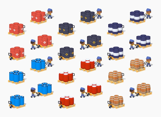 Set of the metal, plastic and wooden 3d lowpoly isometric barrels on the manual pallet trucks
