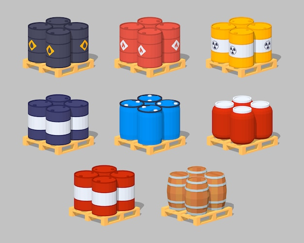 Set of the metal, plastic and wooden 3d lowpoly isometric barrels on the pallets