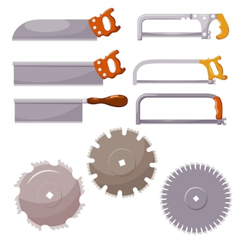 Set of metal saws on white