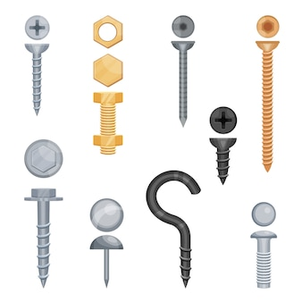 Set of metal screws and bolts in different sizes and colors
