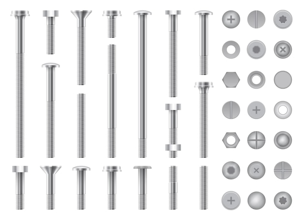Set of metal screws, nuts, steel bolts and nails isolated