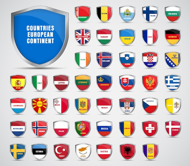 Set of metal sheets with the flags of the countries of the european continent.