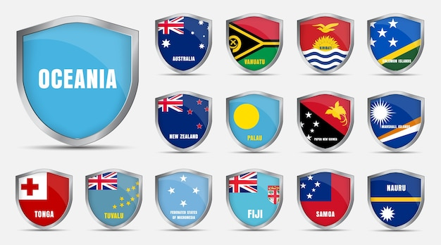 Set of metal sheets with the flags of the countries of the oceania.