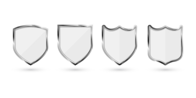 Set of metal shield isolated on white background