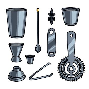 Set of metal steel barman equipment or help tools