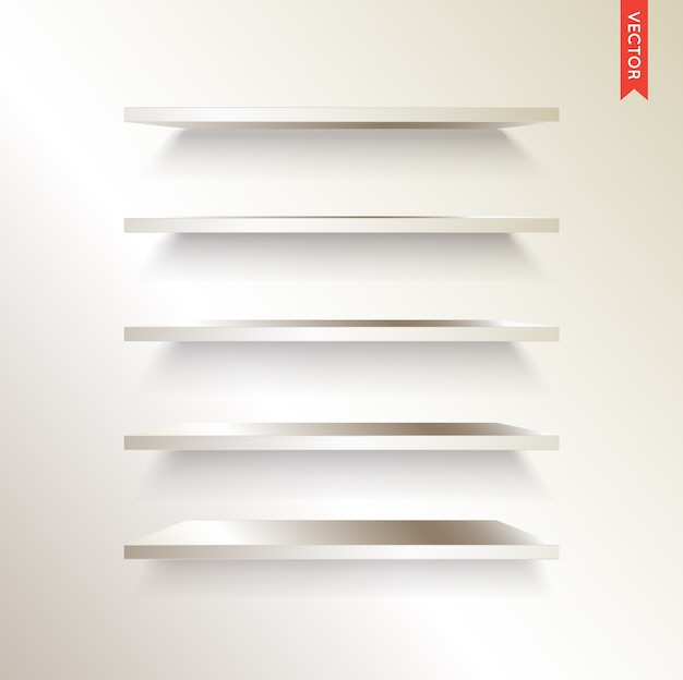 Set of metal or steel shelves isolated on the wall background
