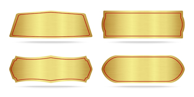 Set of metallic gold name plate