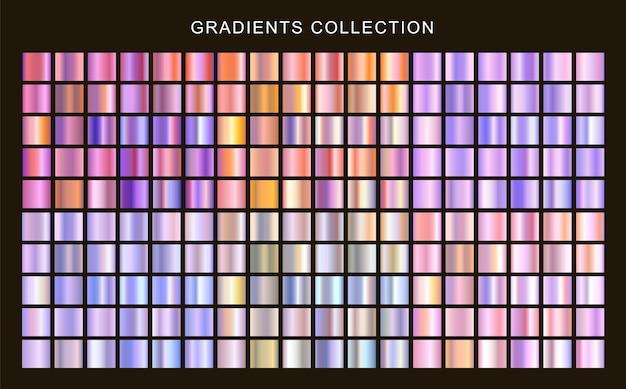 Set of metallic gradients collection holographic textures