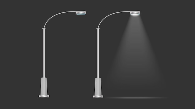 A set of metallic lanterns that shine. lamp post with realistic light. vector.