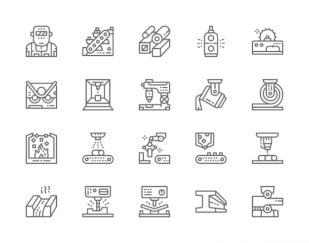 Set of metallurgy industry line icons. conveyor, mining industry, steel pipes, metallurgist, robotic manipulator arm and more.