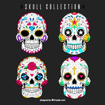 Set of mexican decorative skulls