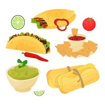 Set of mexican dishes food taco burrito guacamole tamale nachos decorated with lime tomato