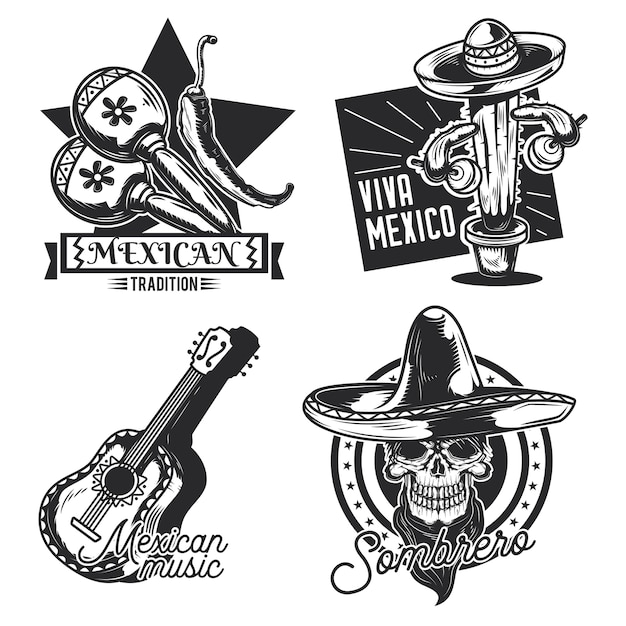 Set of mexican emblems, labels, badges, logos