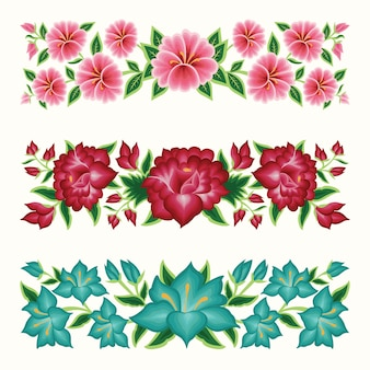 Set of mexican embroidery floral border