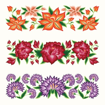 Set of mexican embroidery style floral borders