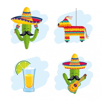 Set mexican traditional decoration to event celebration