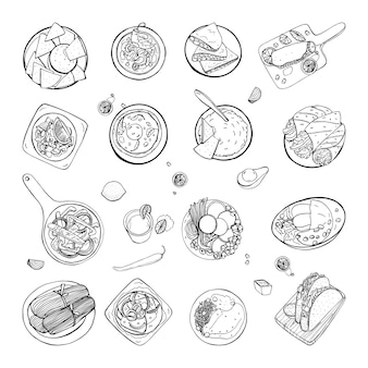 Set of mexican traditional food. different dishes collection spicy bean soup chili, nachos, tortilla, fachitos, quesadilla, taco, guacamole. hand drawn sketch, black and white   illustration.