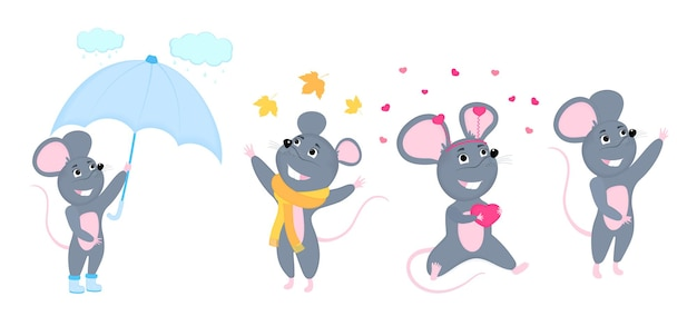 A set of mice. little mouse. rats with umbrella, in a scarf, with a heart-shaped gift for valentine s day.