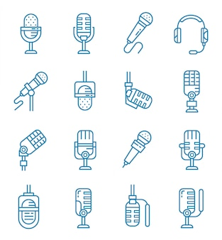 Set of microphone icons with outline style