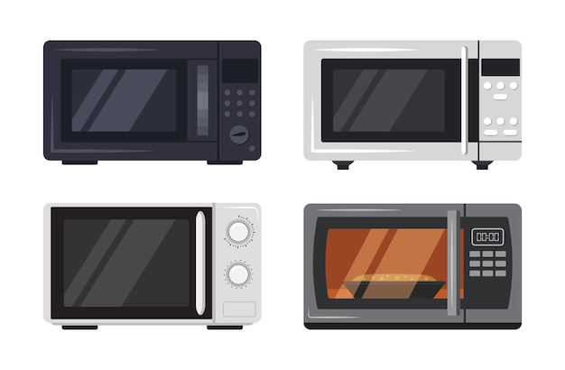 Set of microwave oven kitchen appliances with cooking food behind glass