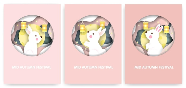 Set of mid autumn festival cards with cute rabbits.