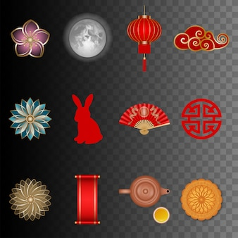 Set of mid autumn festival illustrations. isolated chinese tradition elements
