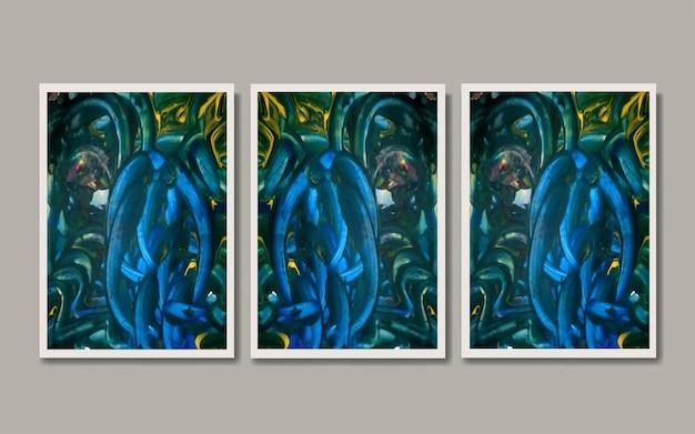 Set mid century abstract modern minimalist art print