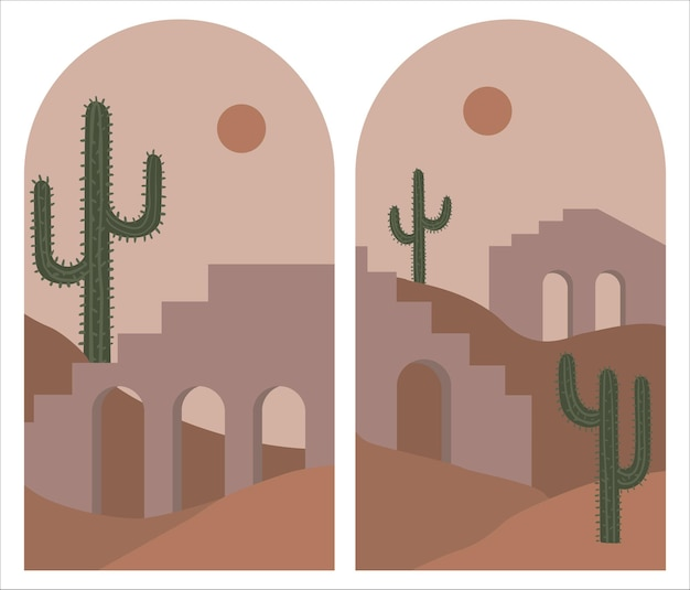 Set of mid century boho wall decor with mountain landscapes in arches. hand drawn  illustration
