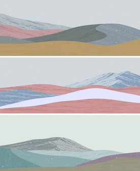 Set of mid century modern minimalist art print. abstract contemporary aesthetic backgrounds landscapes with sea, mountains, wave.