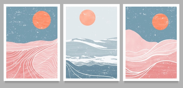 Set of mid century modern minimalist art print. abstract mountain contemporary aesthetic backgrounds landscapes.