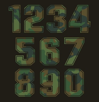 Set of military camouflage numbers