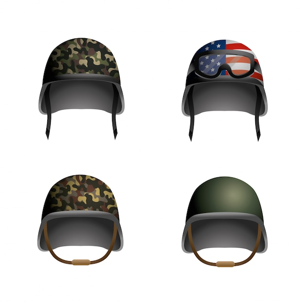Set military helmet with glasses and usa flag