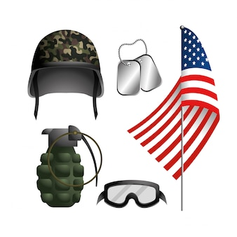 Set military helmet with grenade and neclace