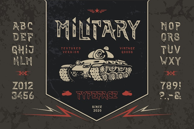 Set of military textured alphabet with hand drawn tank