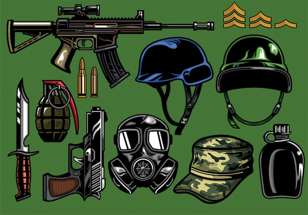 Set of military weapon and objects