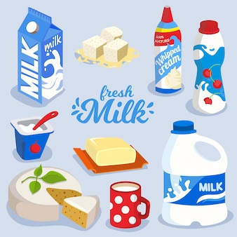 Set of milk products, dairy produce in colorful package icon