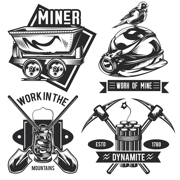Set of miner emblems, labels, badges, logos.
