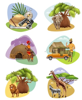 Set of mini compositions on safari theme