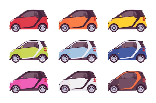 Set of mini electric car in bright colors